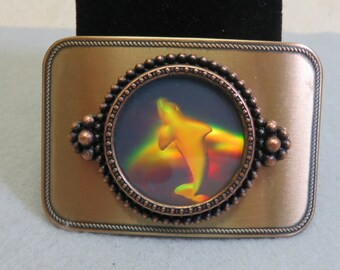 Holographic Leaping Dolphin Vintage Belt Buckle