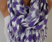 ON SALE --- Purple Heart Print Pashmina Scarf, Shawl,Wedding Scarf,Bridal Scarf, Oversized Cowl Scarf,Gift Ideas For Her,Women Fashion Acces