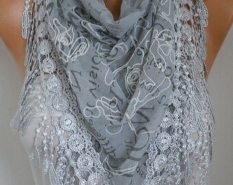 Light Gray Embroidered Scarf,Fall Winter Accessories, Cotton, Cowl Scarf, Gift Ideas For Her, Women Fashion Accessories Scarves