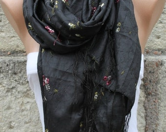 ON SALE --- Black Floral Embroidered Scarf,Wedding Shawl,Evening Wrap,Cowl Bridal Scarf,Bridesmaid gift Gift Ideas For Her Women fashion Acc
