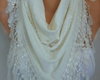 ON SALE --- Creamy White Knitted Lace Scarf, Shawl,Wedding Scarf, Cowl, Bridesmaid Gift,Bridal Scarf Gift Ideas For Her Women Fashion Access
