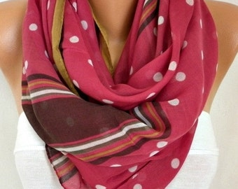 ON SALE --- Cherry & White Polka Dot Cotton Scarf, Fall Accessories, Shawl, Oversized Scarf, Cowl Scarf, Gift Ideas for Her,Women Fashion Ac