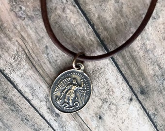 St Michael - Leather Necklace - Bronze Medal - Vintage Replica - Made in the USA
