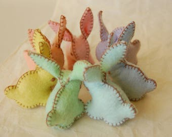 Rainbow Felted Baby Rabbits - Easter Pastel Bunnies - Handmade felt pure wool