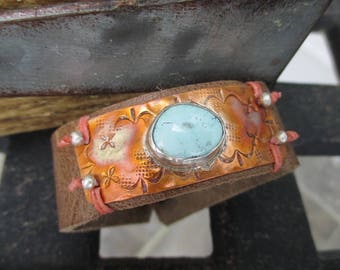 Turquoise distressed leather Cuff bracelet - Sky - baby blue salmon rustic southwestern boho by slashKnots