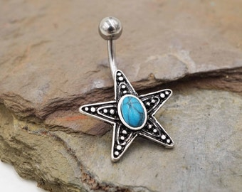 Turquoise Starfish Belly Button Ring Belly Jewelry
