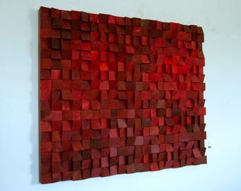 Wood Wall Art, SALE monochromatic wood art in red, new 2017 designs, wooden sound diffuser, wood sound diffusor,