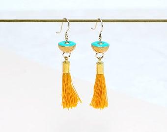 Brass Tassel earrings with Turquoise resin