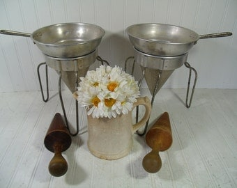 Vintage Canning Sieve, Colander, Strainer, Masher Plus Wooden Pestle - 2 Complete Sets with Leg Stands for Canning, Preserving, Homesteading