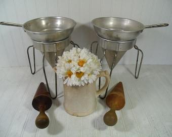 Canning Sieve, Colander, Strainer, Masher Plus Wooden Pestle - 1 Complete Vintage Set with Leg Stands for Canning, Preserving, Homesteading