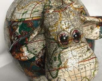 "2017 sale Old World Map Decoupage Piggy Bank - ""Bella"""