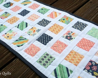 Modern, Patchwork Table Runner - Yellow, Teal, Pink, Navy Quilted Tablerunner - Ready to Ship!