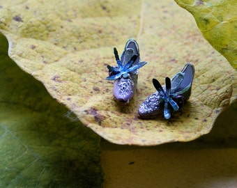 Miniature fairy shoes -purple to green silk, silk flower and dragonfly - elf shoes