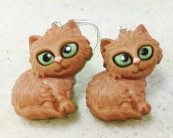 Brown Cat Earrings, Kitty Earrings, Cat Lover Earrings, Animal Earrings, Cat Dangle Earrings, Kitten Earrings, Cat Jewelry