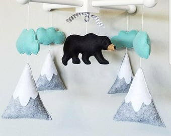 Baby Crib Mobile-black bear Mobile- mountain Crib Mobile-Northern lights bear mobile sea foam and grey-forest mobile