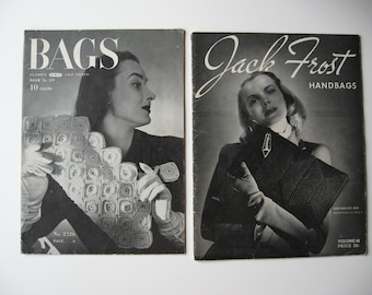 1940s crochet booklets for chic handbags, vintage, film noir style