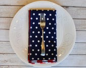 Stars and Stripes reversible cloth napkins. 4th of July decor, pair (2) of large reusable dinner napkins. Red and Blue table linen.