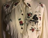 Hand Painted Blouse  Piano Roses Musical Notes Off White