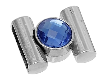 1 Set of Silver Tone Metal, SAPPHIRE BLUE Faceted Glass Magnetic Clasp, fcl0211