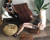 1:6 Scale Indoor/Outdoor Wicker Ottoman/Coffee Table for 12 inch doll Dioramas and Dollhouses
