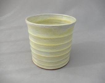 Cooking Utensil Holder - Yellow Pottery Utensil Crock