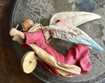 Antique Italian Cartapesta Paper Mache Angel