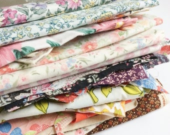 Vintage Fabric Scrap Pack Surprise, 14oz worth of fabric 1950's-1990's