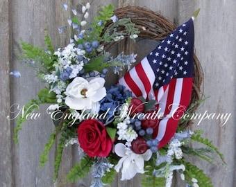 ON SALE Patriotic Wreath, Americana Wreath, 4th of July Wreath, Memorial Day Wreath, Military Wreath, Summer Floral, Elegant Patriotic, Flag