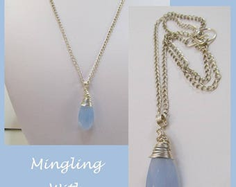 Wire Wrapped Blue Briolette Necklace