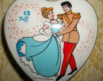 Cinderella, Prince Charming,  Disney trinket box, porcelain with gold trim