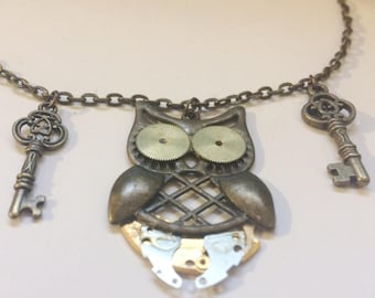 Owl with watch parts Steampunk Necklace, Gear, Cog