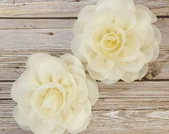 "Ivory  Soft Chiffon Rose Petal Flowers ( 2 pieces) 3"" Fabric flower Wholesale Flowers Headband Flowers Chiffon Sara Flower embellishment"