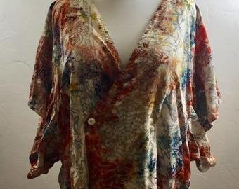 Batik Top, Vintage Clothing,Batik Robe, Kamono Sleeves, Hippie Clothing, Vintage Kimono, Vintage Jacket, Batik Jacket, Boho Jacket, Hippie