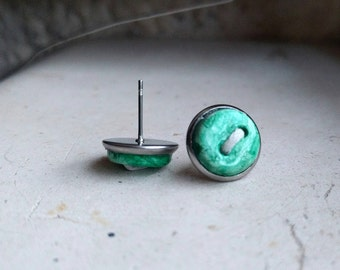 Tiny clay button earrings green. Stud earrings stainless steel