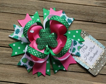 St. Patrick's Day Hair Bow - pink and green Clover Hair Bow - St. Patrick's Day