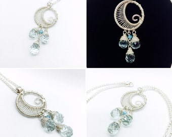 Wire Wrapped Silver Plated Moon Necklace with Genuine Aqua Crystal Briolettes