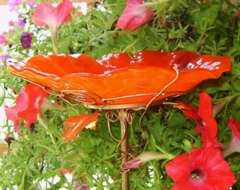 """BIRD Bath, Stained Glass, 8"""" diameter, RED ORANGE, Copper, Home Decor, Garden Art, Bird Feeder, Garden Suncatcher"""