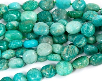 Amazonite Nuggets Ocean Blue-Green Beads -15 inch strand