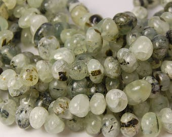 Prehnite Nugget beads in Misty Green- 15.5 inch strand