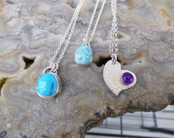 Sleeping Beauty Turquoise Larimar Amethyst Sterling Silver Necklaces