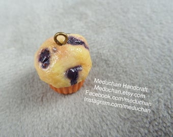 Miniature blueberry muffin polymer clay charm