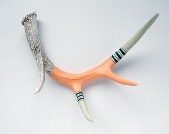 LARGE - Peach, Taupe & Teal Striped Painted Antler