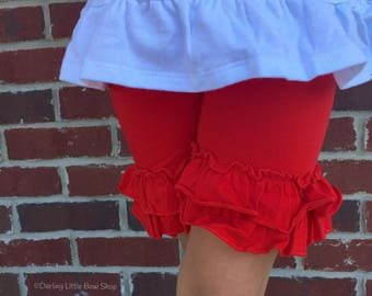 Red Ruffle Shorties, Red Ruffle Shorts - red knit ruffle shorties sizes 6m to girls 10 - Free Shipping