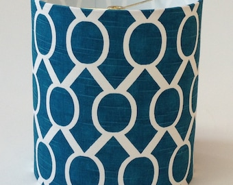 "Small Drum Lamp Shade in Aqua Trellis Fabric 8"" D x 9"" T - Ready to Ship!"