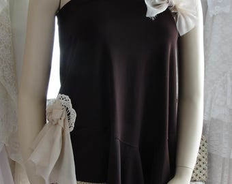 Romantic one sleeve brown top with ivory and lace, mori girl, french chic, gypsy faery