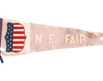Antique NE Fair Felt Flag Pennant