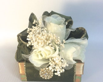 Favor Gift Box Olive Green Gold Gift Boxes Wedding Favor Box Jewelry Wedding Favors Jewelry Mothers Day Bridesmaid Handmade Decorative Box