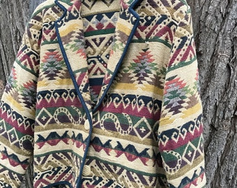 Ladies Southwestern Aztec Cropped Jacket Size XL AS IS