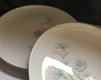 Vintage Midcentury Taylor Smith Taylor Dinner Plates Taylor Smith & Taylor Ever Yours Boutonniere Dinner Plates