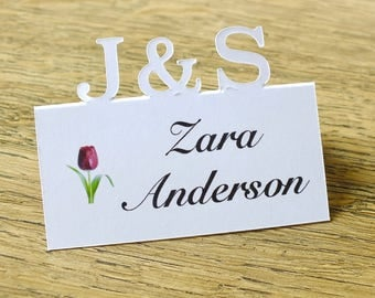 Wedding Place Cards, Personalised Initials Place Cards, Table Place Cards, Table Cards, Seat Cards, Ivory, White, Personalised Weddings